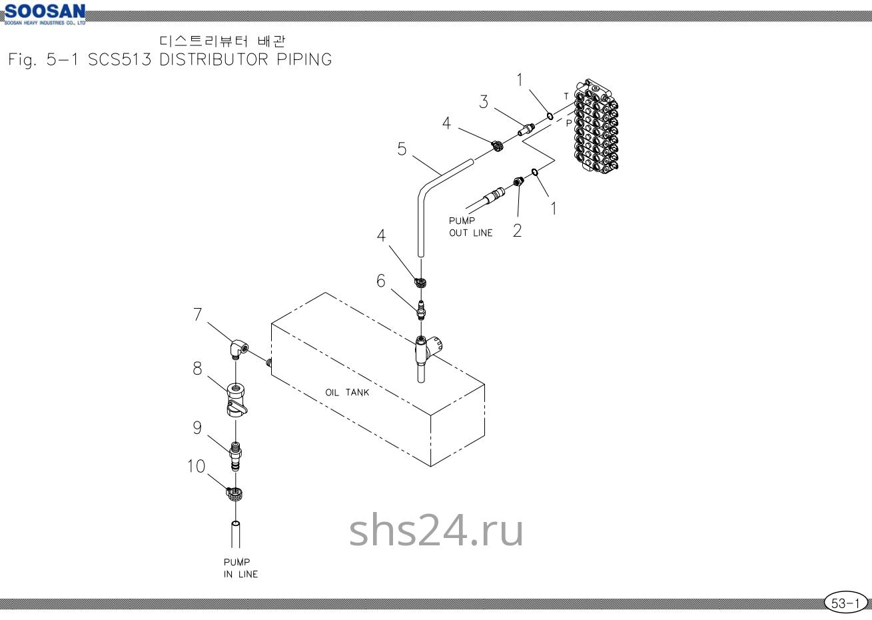 Подключение гидробака Soosan SCS 513