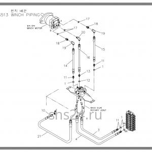 Подключение коллектора и мотора лебедки Soosan SCS 513