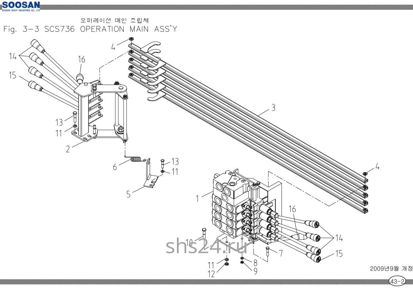 Рычаги управления 4-х секц. гидрораспределителем Soosan SCS 736