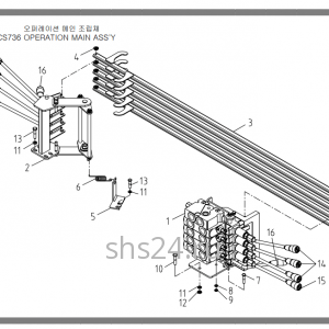 Рычаги управления 4-х секц. гидрораспределителем Soosan SCS 736L2