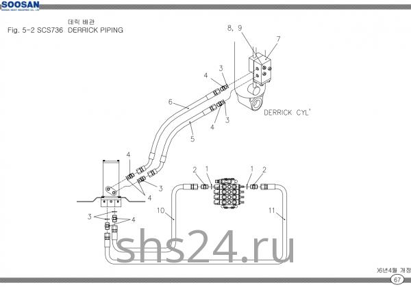 Схема подключения гидроцилиндра подъема Soosan SCS 736 STD