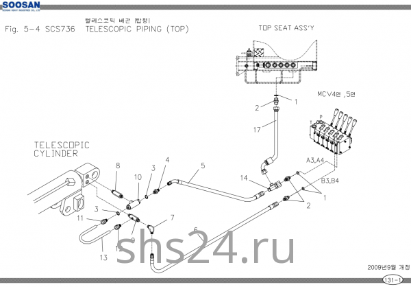 Схема подключения гидроцилиндра выдвижения стрелы Soosan SCS 736 TOP