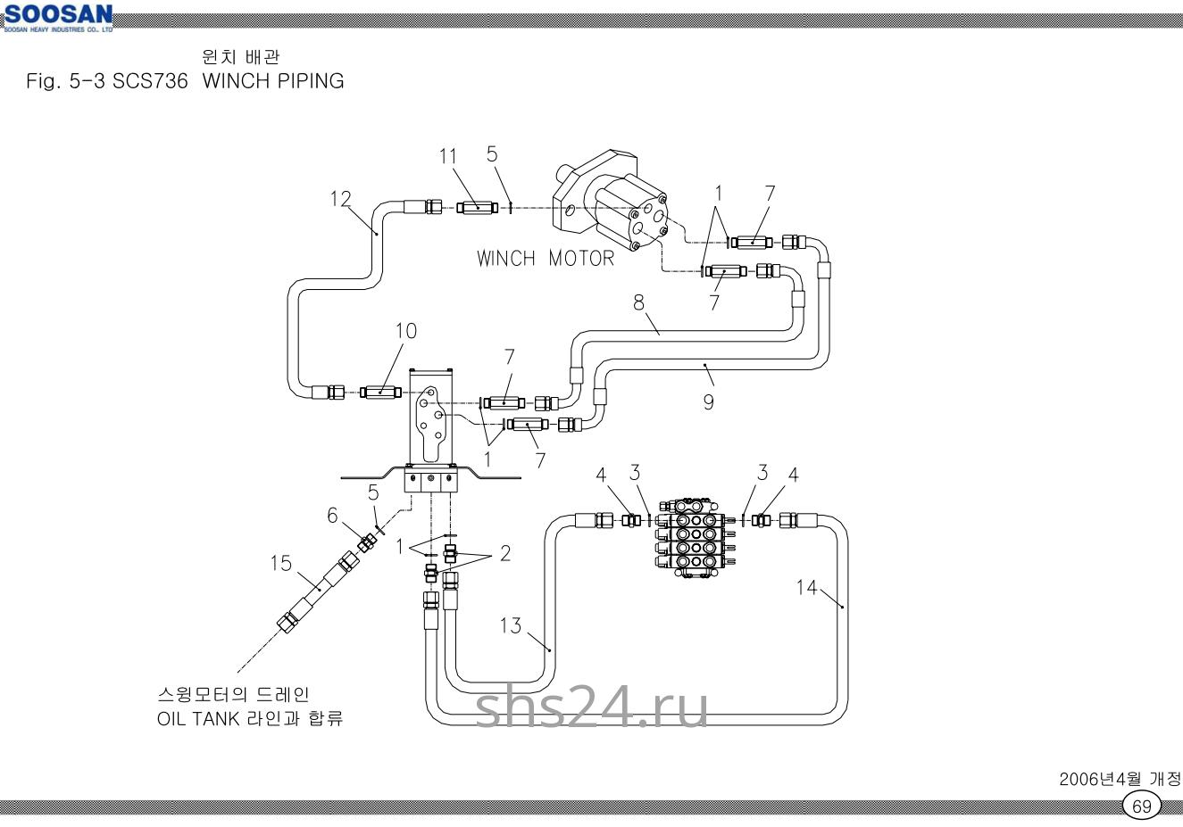 Схема подключения гидромотора лебёдки Soosan SCS 736 STD
