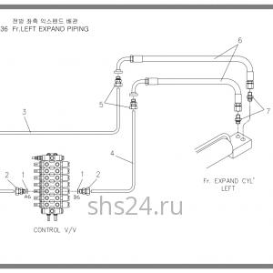 Схема подключения левого гидроцилиндра выдвижения лапы Soosan SCS 736
