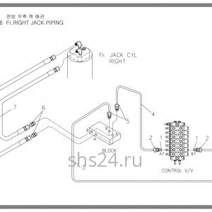 Схема подключения правого гидроцилиндра опускания лапы Soosan SCS 736