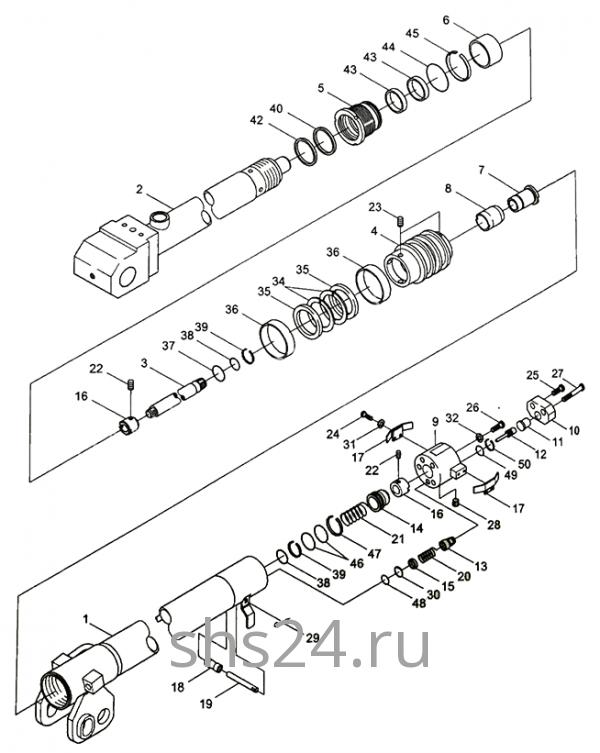 1-ый гидроцилиндр выдвижения стрелы Kanglim KS 5206