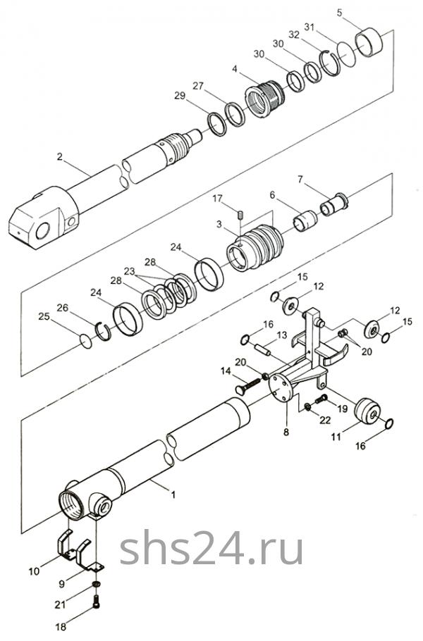 3-ий гидроцилиндр выдвижения стрелы Kanglim KS 5206