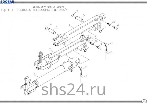 Цилиндры телескопирования в сборе Soosan SCS 867