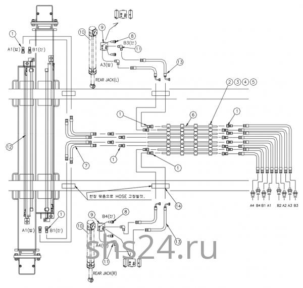 Гидравлическая схема подключения задних аутриггеров Dong Yang SS 1406