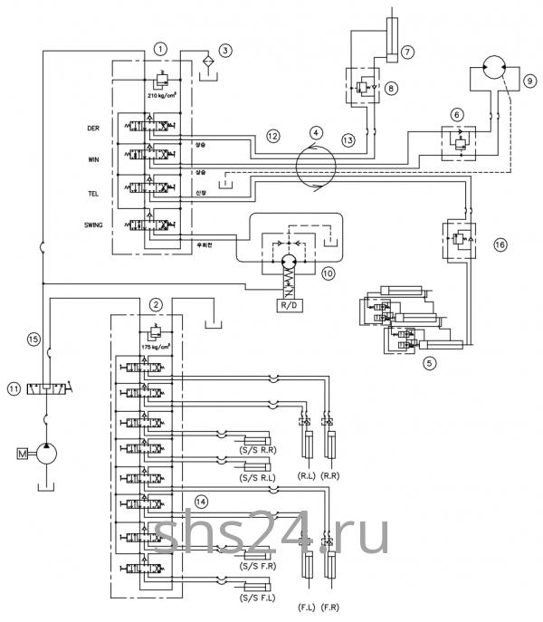 Гидравлическая схема потока(контур) Dong Yang SS 1406