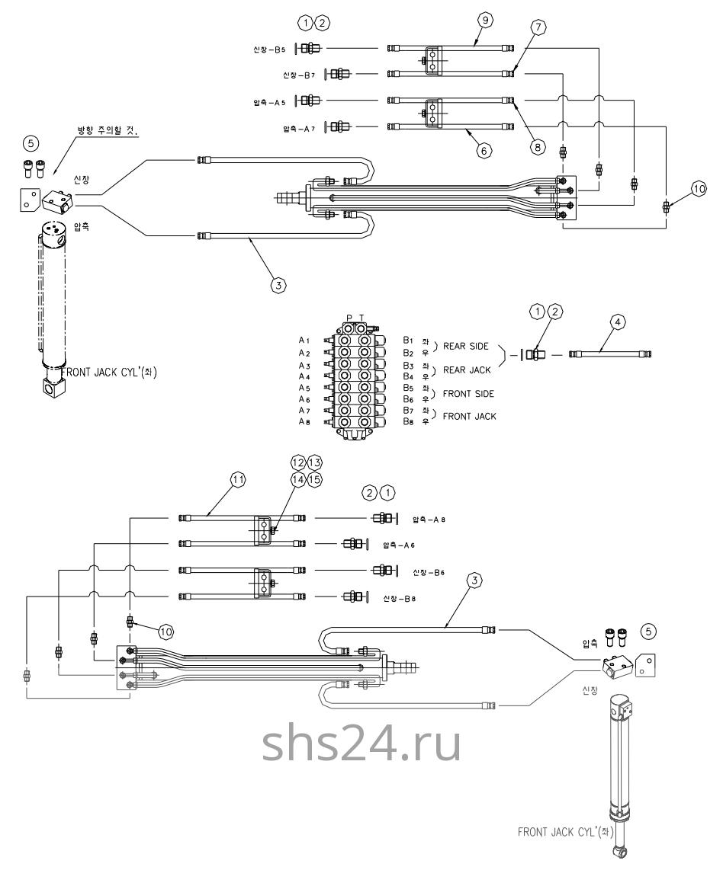 Гидравлическая схема(нижняя часть 2) Dong Yang SS 1406