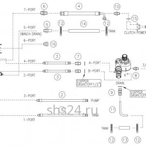 Гидравлическая схема(нижняя часть) Dong Yang SS 1406