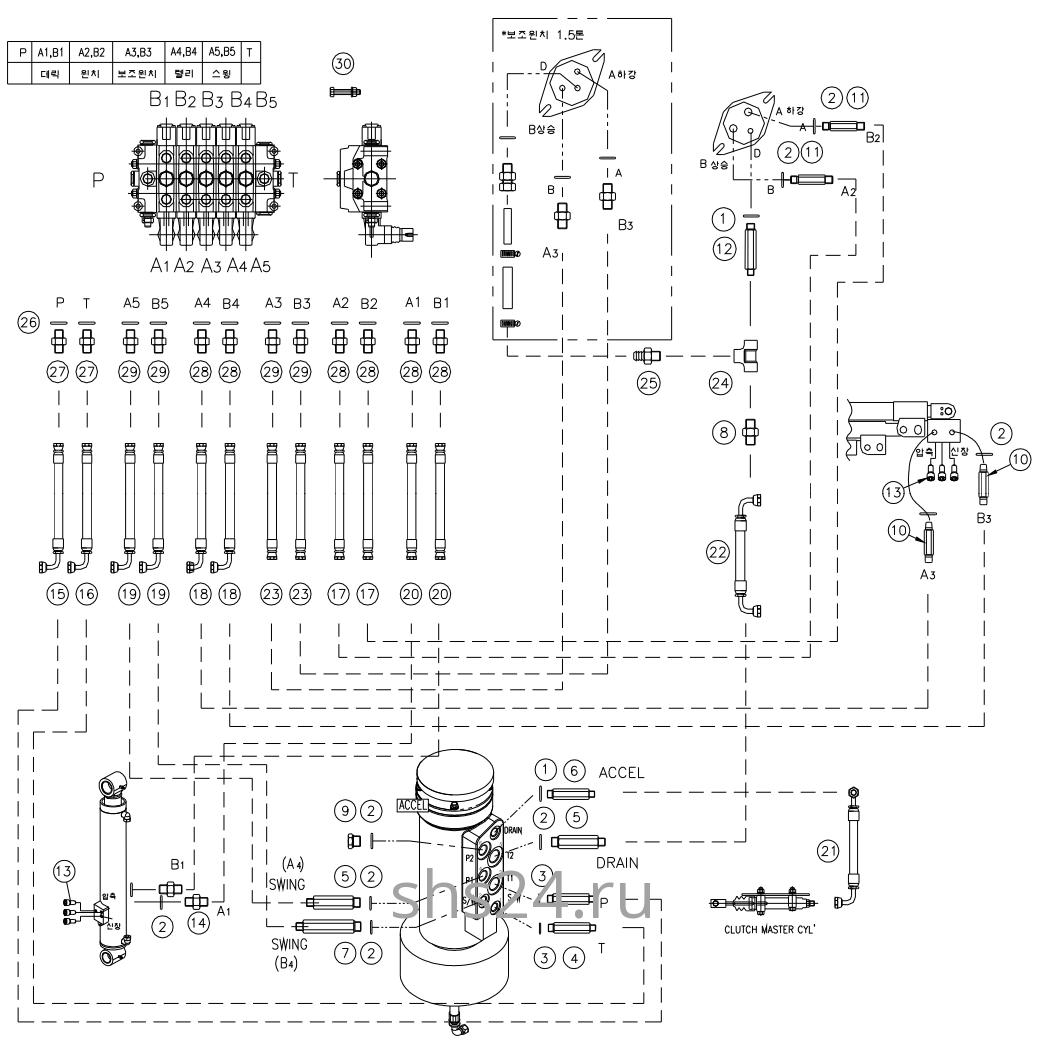 Гидравлическая схема(верхняя часть) Dong Yang SS 1406
