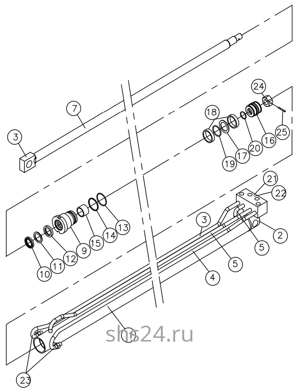 Гидроцилиндр выдвижения переднего аутригера Dong Yang SS 1406