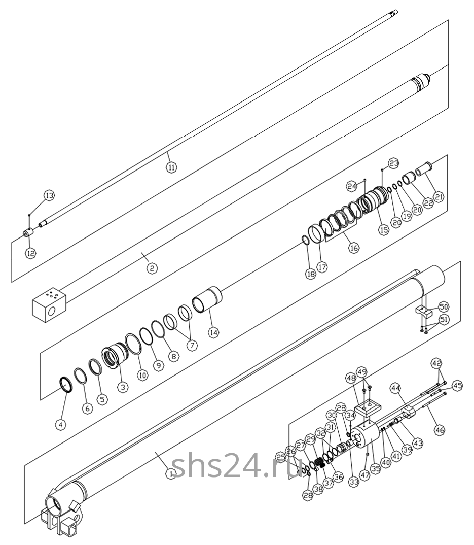 Гидроцилиндр выдвижения стрелы 1-ый Dong Yang SS 1406