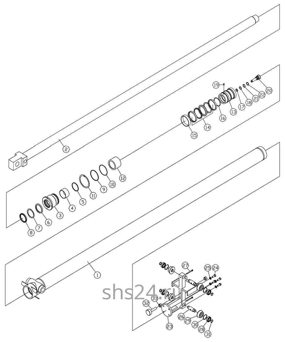 Гидроцилиндр выдвижения стрелы 3-ий Dong Yang SS 1406