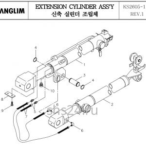 Гидроцилиндры телескопирования стрелы Kanglim KS 2605