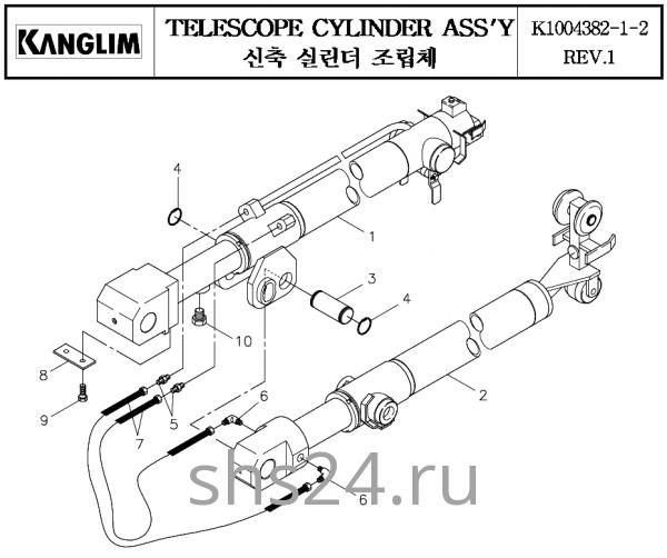 Гидроцилиндры телескопирования стрелы Kanglim KS 3105