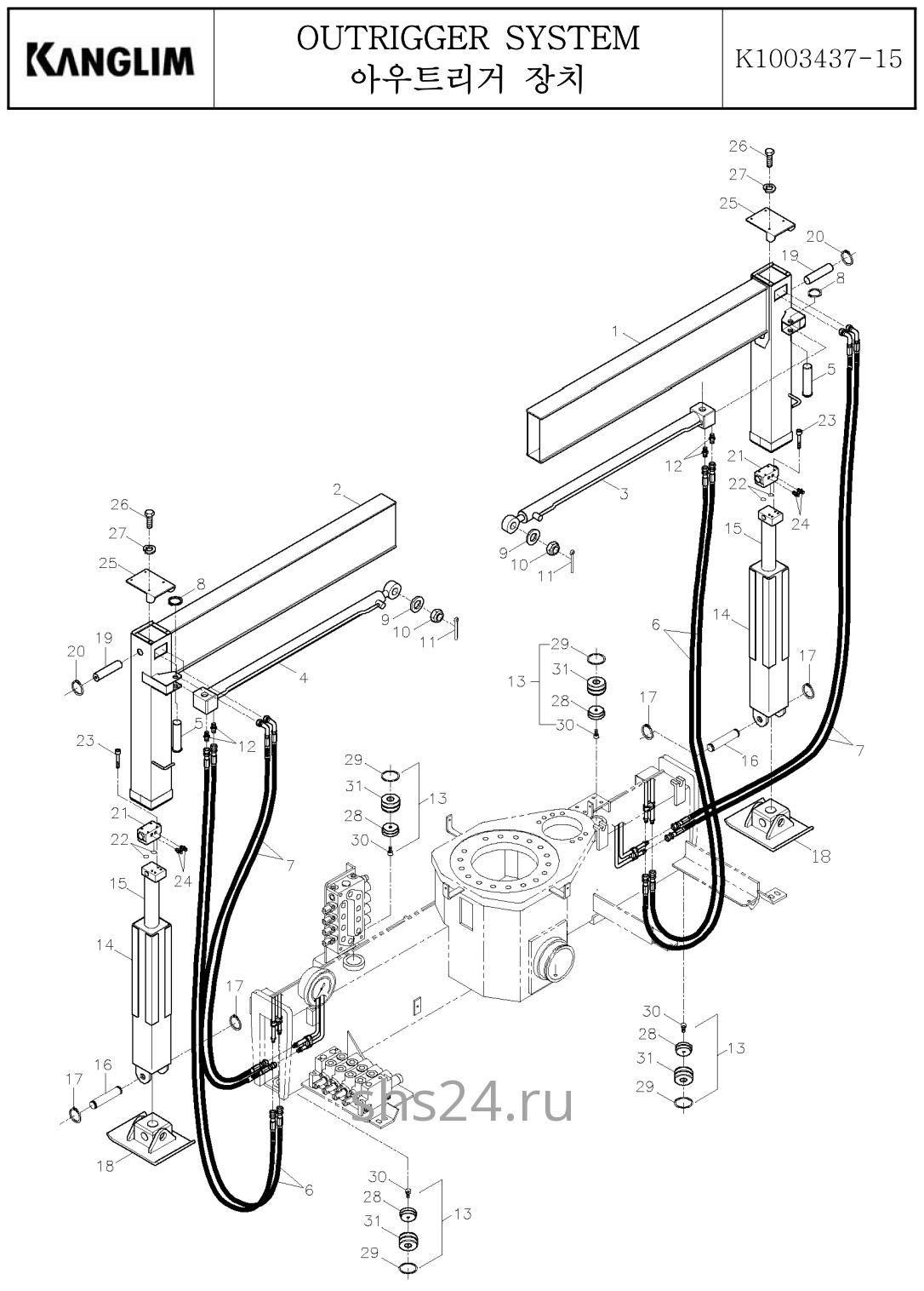 Передние опоры(аутриггеры) Kanglim KS 733,734,735