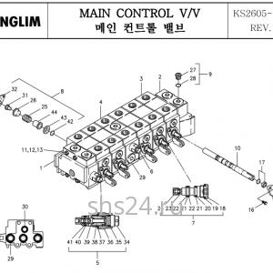 Распределитель управления краном манипулятором Kanglim KS 2605