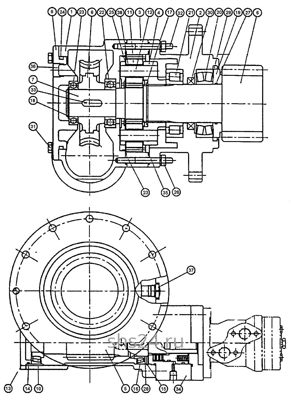 Редуктор поворота колонны Kanglim KS 5206