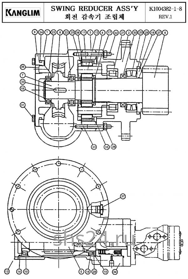 Редуктор поворота колонны крана манипулятора Kanglim KS 3105