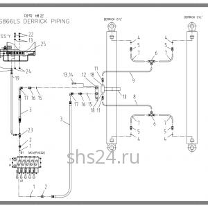Схема подключения цилиндра подъема Soosan SCS 866, 867