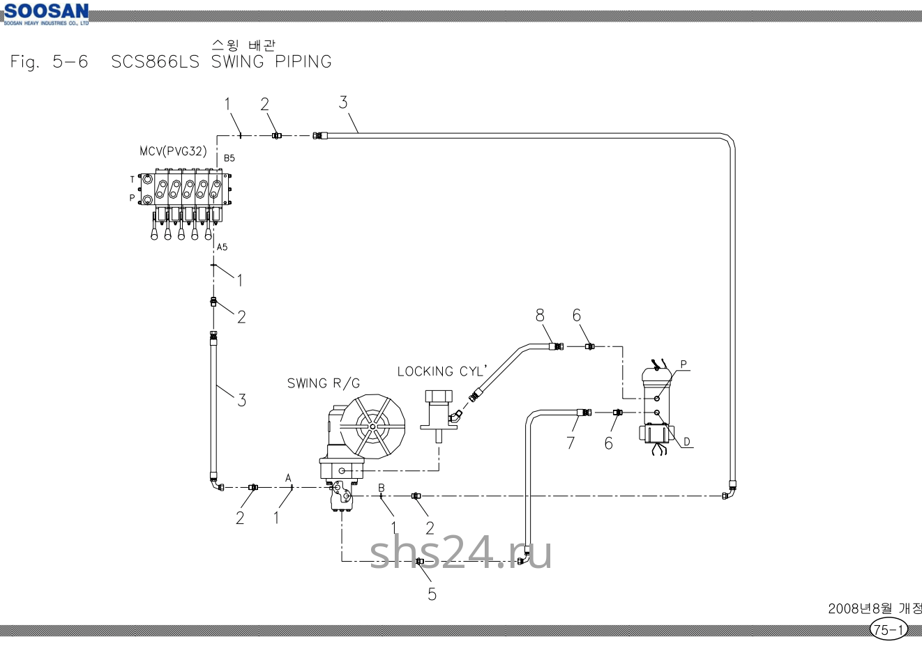 Схема подключения редуктора поворота Soosan SCS 866, 867