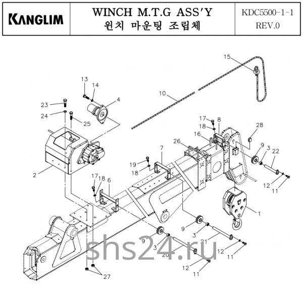 Цилиндр подъема стрелы Kanglim KDC 5600