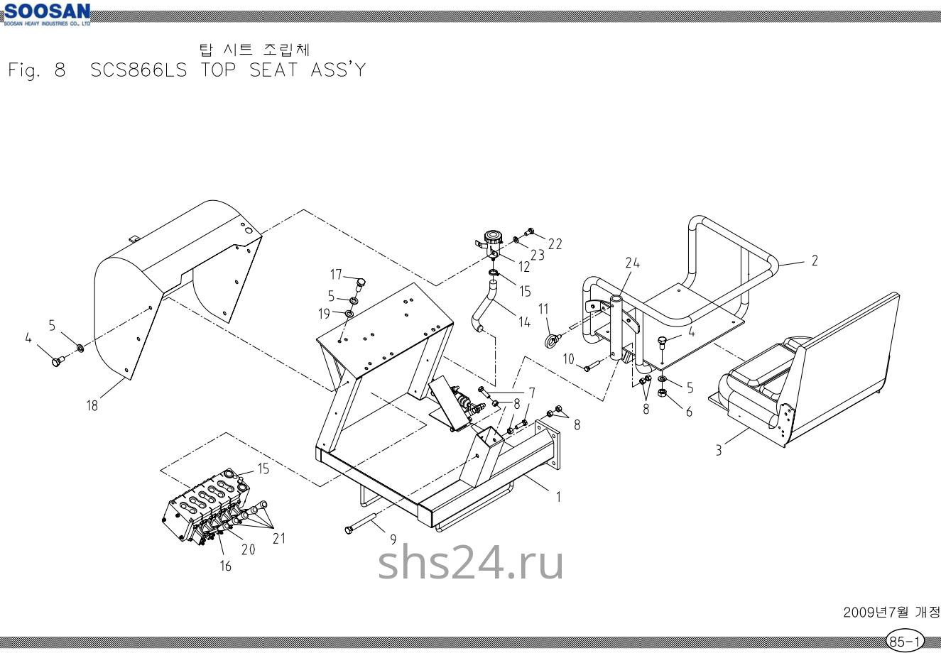 Верхний пост, кресло оператора Soosan SCS 866, 867