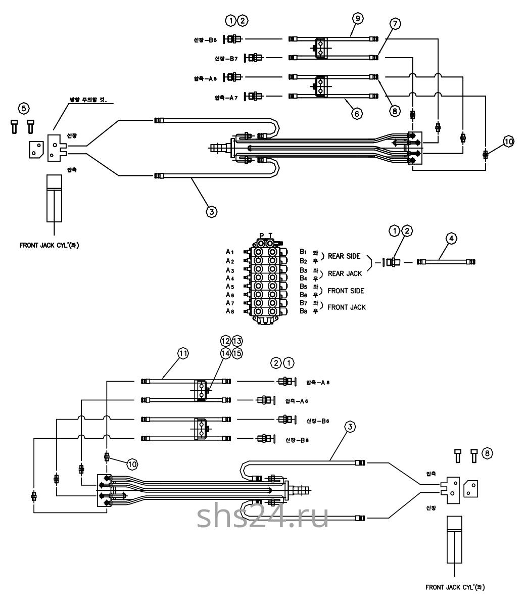 Гидравлическая схема цилиндров аутриггеров DongYang 1506