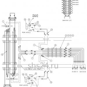 Гидравлическая схема подключения задних аутриггеров DongYang 2036