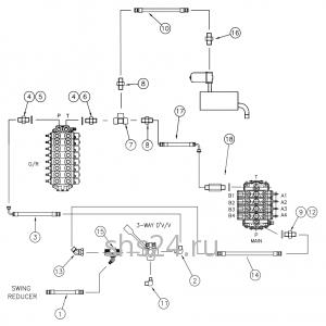 Гидравлическая схема переключения потока (верх и низ) DongYang 1506