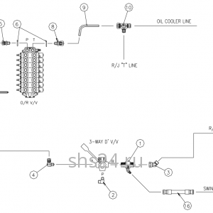 Гидравлическая схема преключения потока (верх и низ) DongYang 2036
