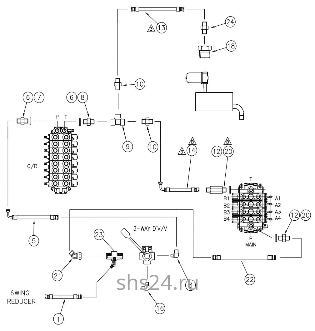 Гидравлическая схема преключения потока (верх и низ)DongYang 1926