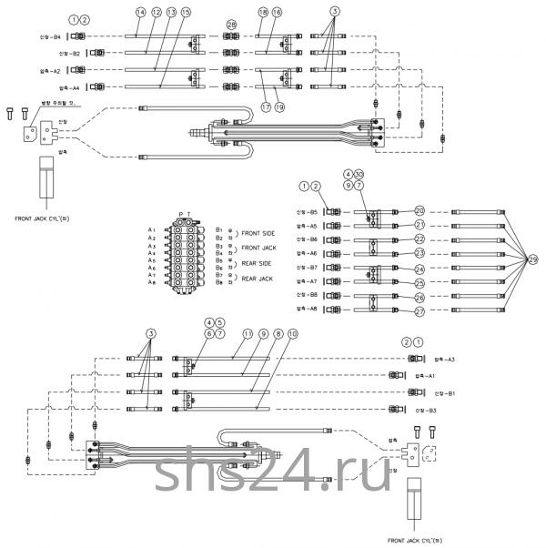 Гидравлическая схема(Нижняя часть) DongYang 2036