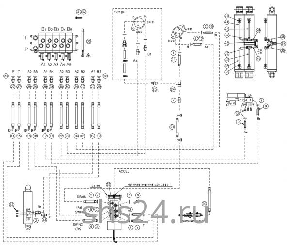 Гидравлическая схема(Верхняя часть 2) DongYang 2036