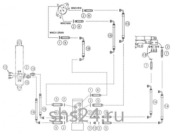 Гидравлическая схема(Верхняя часть) DongYang 1506