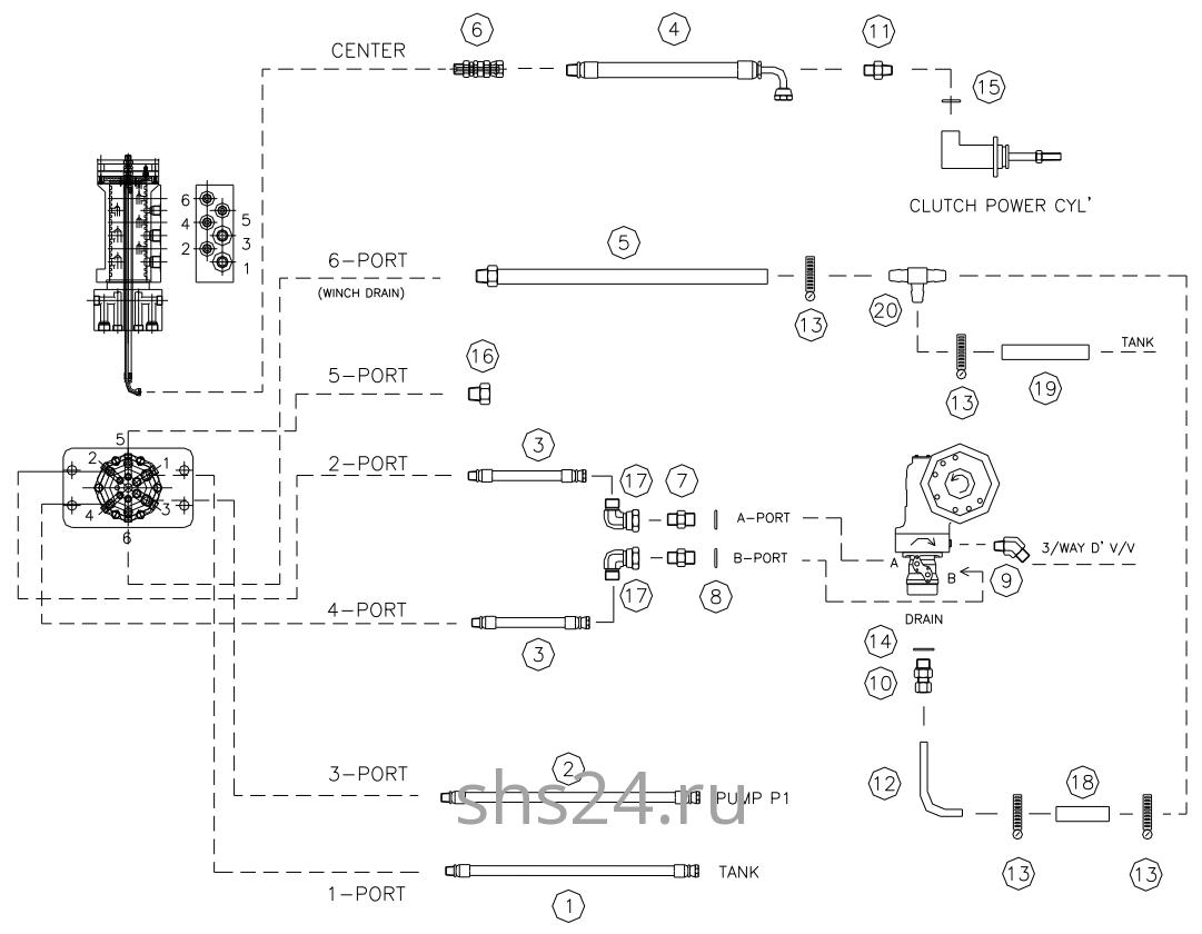 Гидравлическая схема(Верхняя часть) DongYang 2036