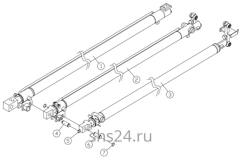 Гидроцилиндры выдвижения стрелы в сборе DongYang 2036