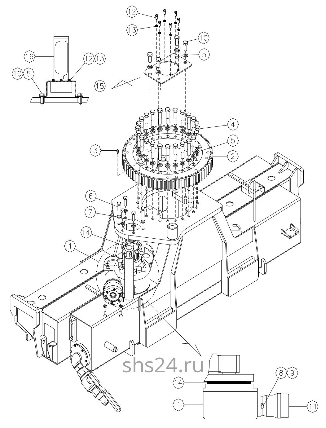 Станина(редуктор поворота и опорный подшипник) DongYang 1506